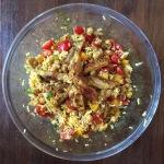 Rijstsalade met kip kerrie en kikkererwten