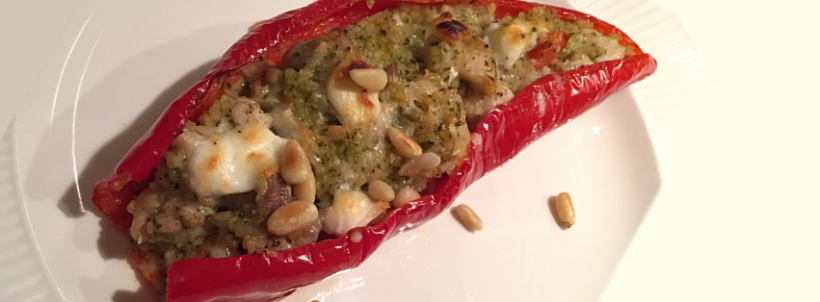 Gevulde paprika met kip pesto