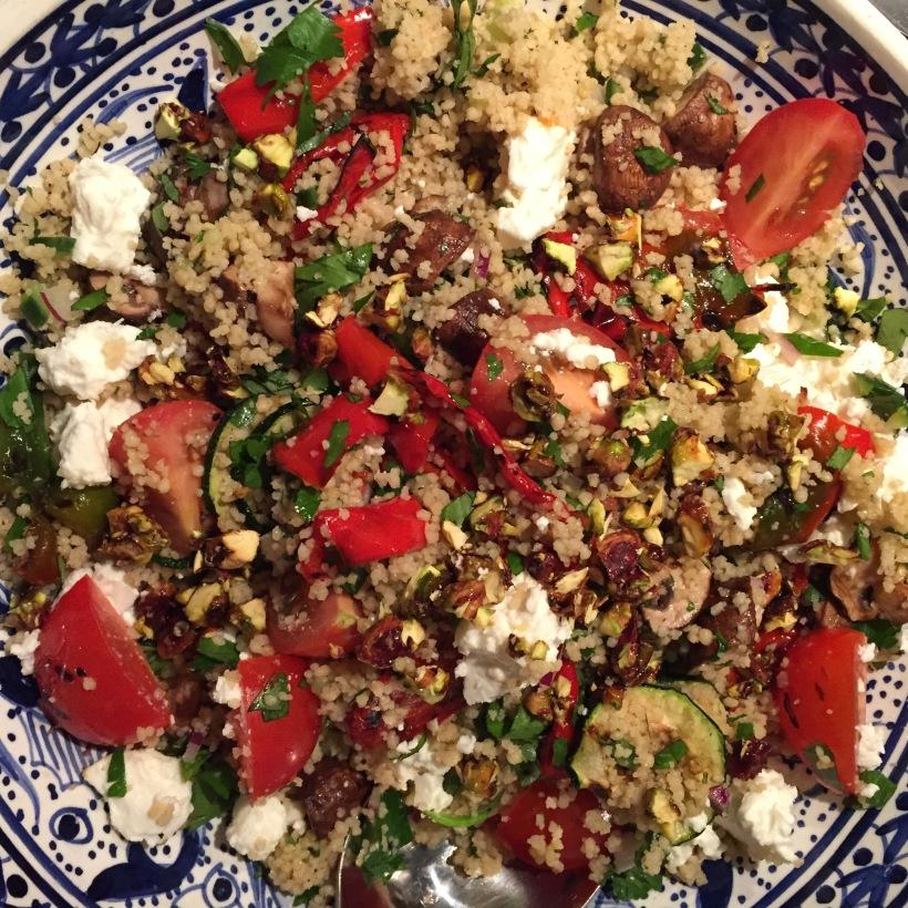 Kruidige couscous met gegrilde groenten en feta