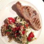 Couscous met gegrilde groenten, feta en lam
