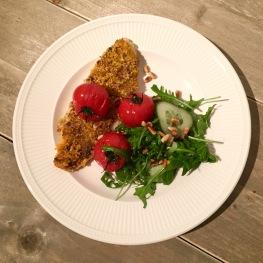 Pangasiusfilet met een korst van tomatentapenade