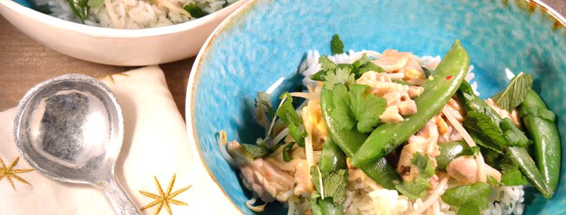 Thaise rijstsalade met kip