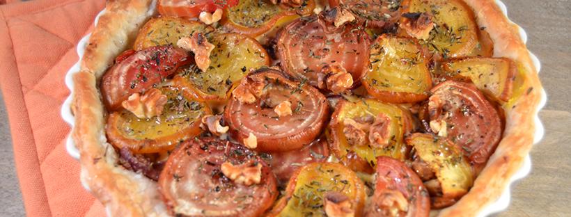 Bietentaartje met italiaanse kruiden, walnoten en honing