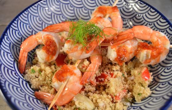 Couscous met gegrilde groenten & spicy gamba's