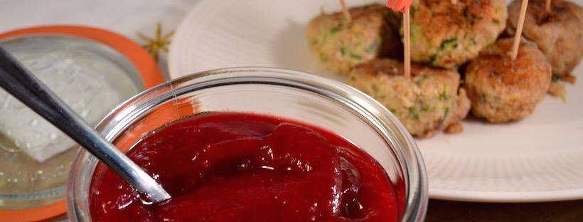 Recept cranberrysaus met kipgehaktballetjes