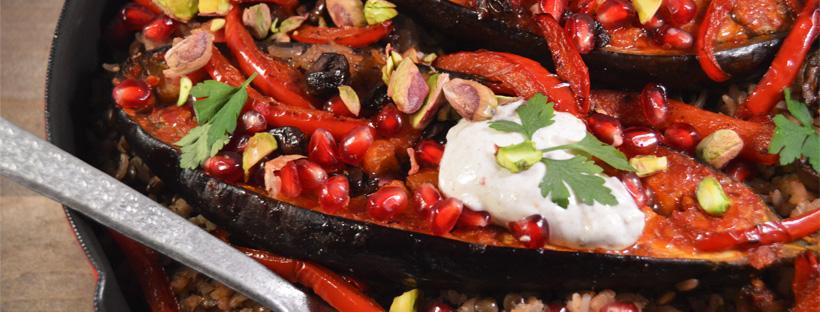 Rijstsalade met aubergine uit de oven