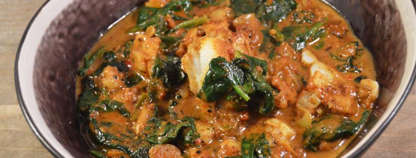 curry met kabeljauw en spinazie