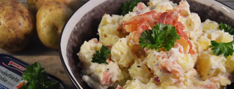 Aardappelsalade met pancetta en ansjovis