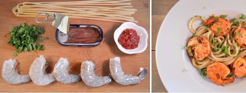 Snelle pasta met ansjovis en harissa gamba's