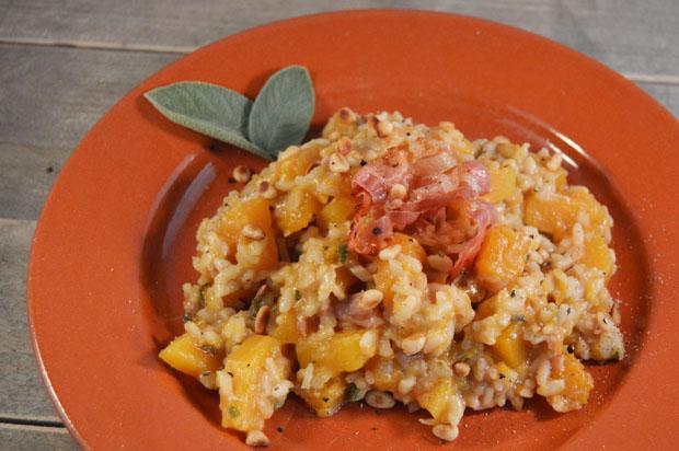 Risotto met pompoen, salie en pancetta